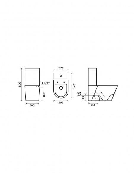 WC AKEN avec reservoir abattant amortisseur duroplast. Système double schéma
