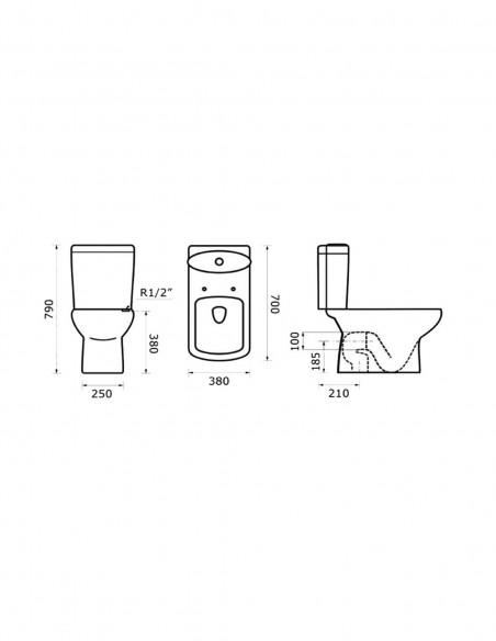 WC Amón avec reservoir abattant amortisseur duroplast. Système double schéma