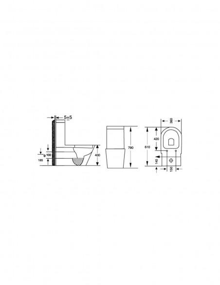 WC AMSET avec reservoir abattant amortisseur duroplast. Système double schéma