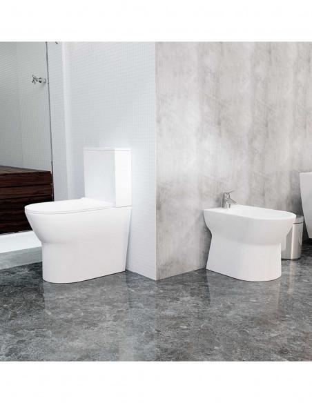 BATSI Kit: WC BATSI avec reservoir abattant amortisseur duroplast. Système double et Bidet économique et moderne BATSI