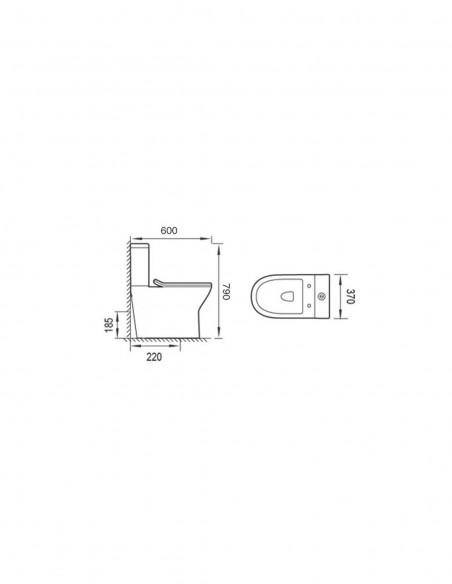 WC BATSI avec reservoir abattant amortisseur duroplast. Système double schéma