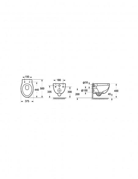 WC suspendu BATA avec reservoir abattant amortisseur duroplast. Drainage murale schéma