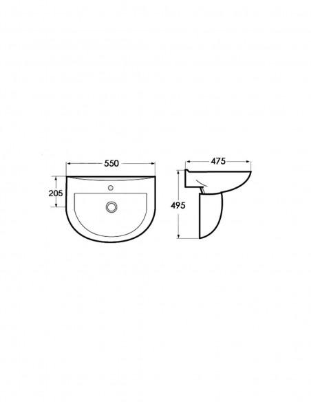 Lavabo avec semi-piédestal BATA Bon marché schéma