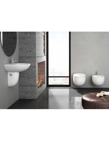 BATA Kit: WC suspendu BATA, Bidet suspendu BATA et Lavabo avec semi-piédestal BATA Bon marché