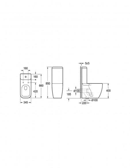 WC NEFERTUM avec reservoir abattant amortisseur duroplast. Système double schéma