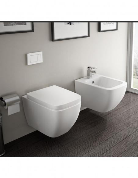 WC suspendu TUTU complet avec reservoir abattant amortisseur duroplast. Drainage murale et bidet