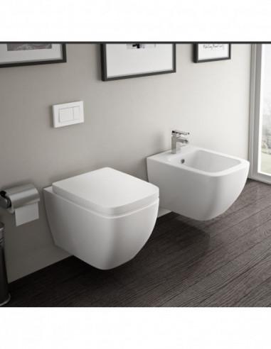 TUTU Kit: WC suspendu TUTU complet avec reservoir abattant amortisseur duroplast. Drainage murale et Bidet suspendu TUTU