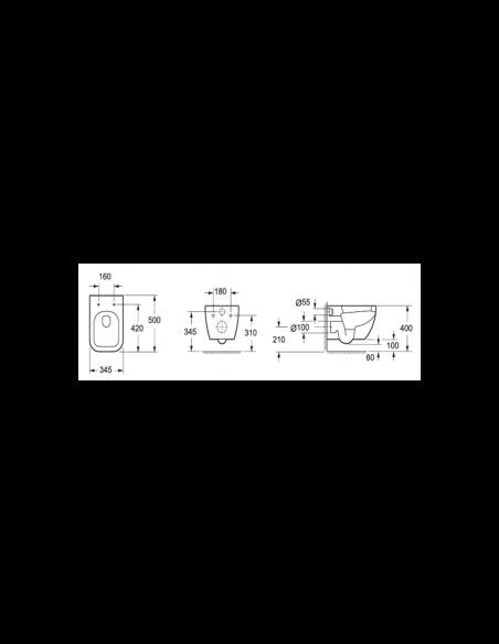 WC suspendu TUTU complet avec reservoir abattant amortisseur duroplast. Drainage murale schéma