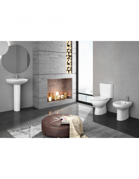 WC MANDULIS complet avec reservoir abattant ABS et sortie verticale (au sol) lavabo et bidet