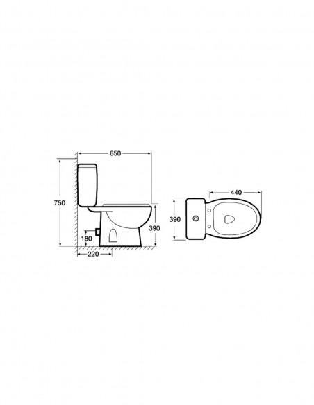 WC MANDULIS complet avec reservoir abattant ABS et sortie horizontale (au mur) schéma