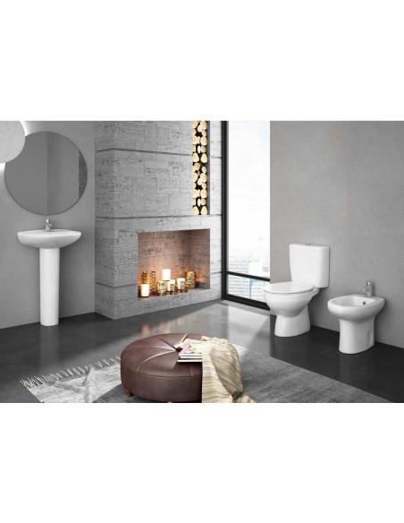 MANDULIS Kit: WC complet avec reservoir abattant ABS et sortie verticale (au sol) Bidet et Lavabo avec piédestal Bon marché