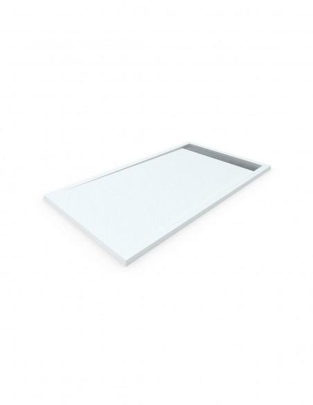 Receveur de douche en Résine avec cadre. Texture Ardoise. Blanc. mesures