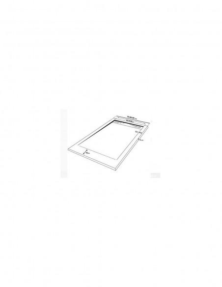 Receveur de douche en Résine avec cadre. Texture Ardoise. Blanc. schéma