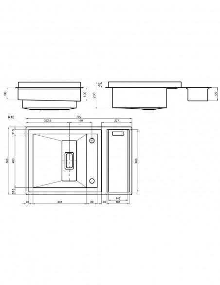 Évier de cuisine à un bac avec robinet intégré modèle Invictus par Rodi measures