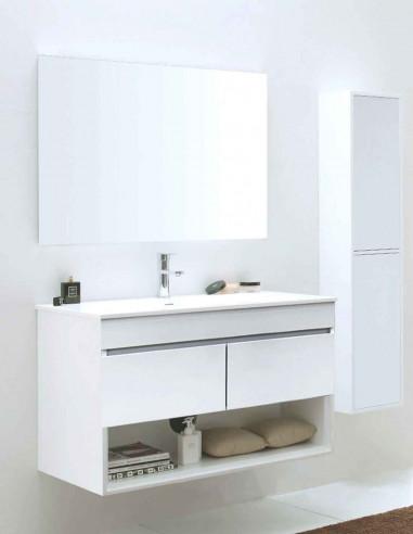 Meuble de salle de bain suspendu HERA avec miroir et lavabo 75 cm Avec colonne auxiliaire
