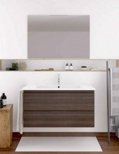 Meuble de salle de bain suspendu LOKI avec miroir et lavabo 60 cm Frêne tea