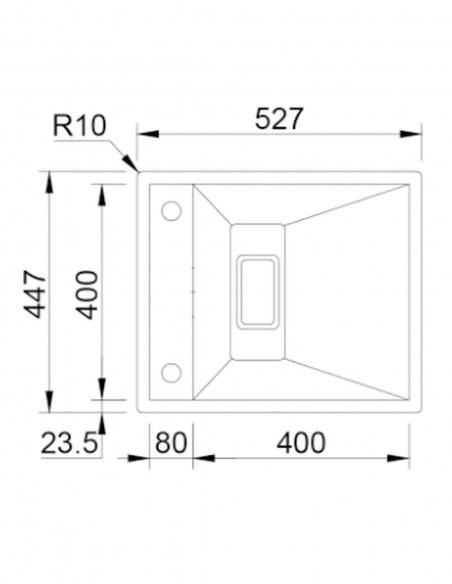 Rodi Invisible 40R évier de cuisine à un bac avec robinet intégré 52X44CM schéma