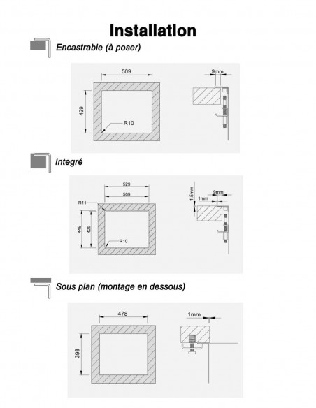 Rodi Invisible 40R évier de cuisine à un bac avec robinet intégré 52X44CM installation