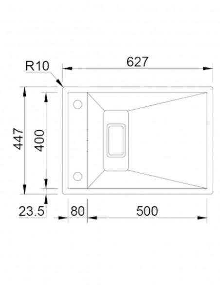 Rodi Invisible 50 évier de cuisine à un bac avec robinet intégré 62X44CM schéma