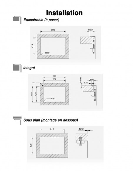 Rodi Invisible 50 évier de cuisine à un bac avec robinet intégré 62X44CM installation