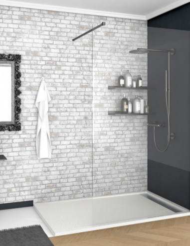 Receveur de douche en Résine avec cadre. Texture Ardoise. Blanc