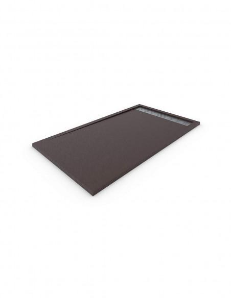 Receveur de douche en Résine avec cadre. Texture Ardoise. Marron chocolat 2