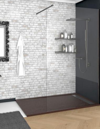Receveur de douche en Résine avec cadre. Texture Ardoise. Marron chocolat