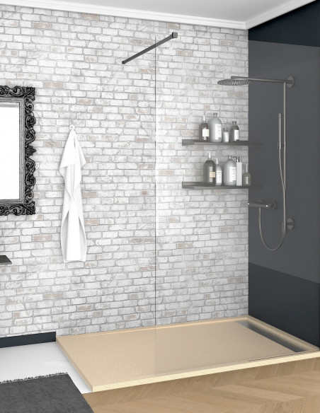 Receveur de douche en Résine avec cadre. Texture Ardoise. Beige 2