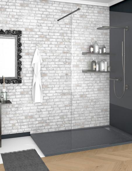 Receveur de douche en Résine avec cadre. Texture Ardoise. Gris ardoise