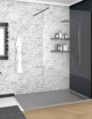 Receveur de douche en Résine avec cadre. Texture Ardoise. Gris béton