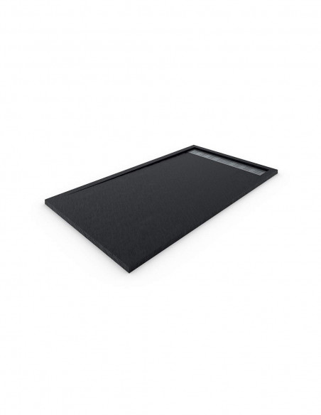 Receveur de douche en Résine avec cadre. Texture Ardoise. Noir