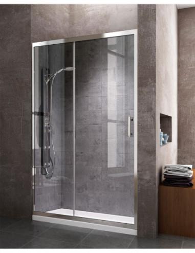 Paroi de douche frontale avec 1 porte coulissante et 1 Panneau fixe transparent