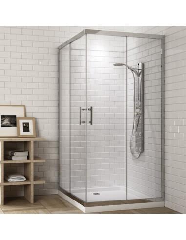 Cabine de douche carrée avec 2 panneaux fixes et 2 portes coulissantes transparent