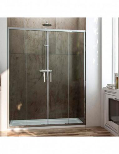 Paroi de douche frontale avec 2 portes coulissantes et 2 Panneaux fixes transparent