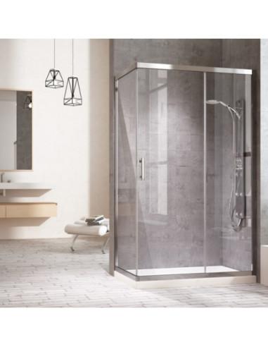 Cabine de douche avec côte fixe 1 porte coulissante et 1 panneau fixe transparent