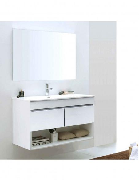 Meuble de salle de bain suspendu HERA avec miroir et lavabo 75 cm