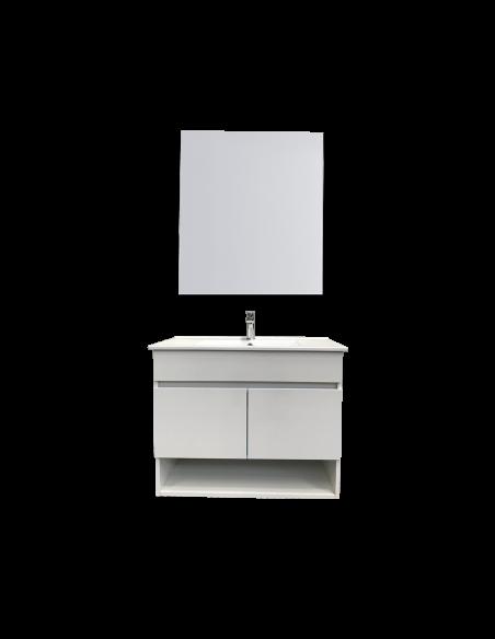 Meuble de salle de bain suspendu HERA avec miroir et lavabo 75 cm 2