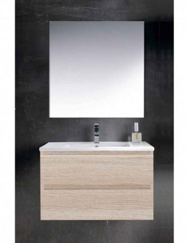 Meuble de salle de bain suspendu LOKI avec miroir et lavabo 60 cm Sable