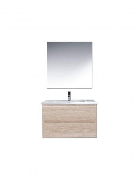 Meuble de salle de bain suspendu LOKI avec miroir et lavabo 60 cm Sable 2