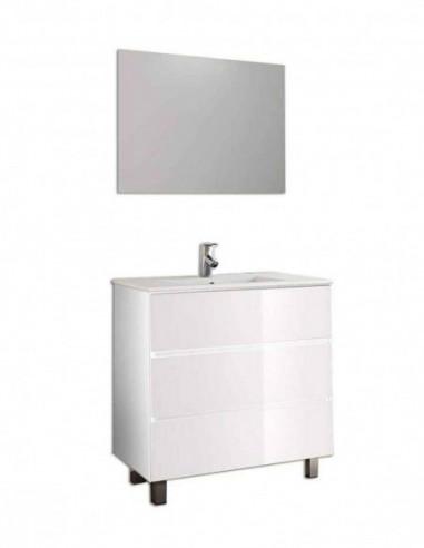 Meuble de salle de bain BALDER avec miroir et lavabo 75 cm Blanc