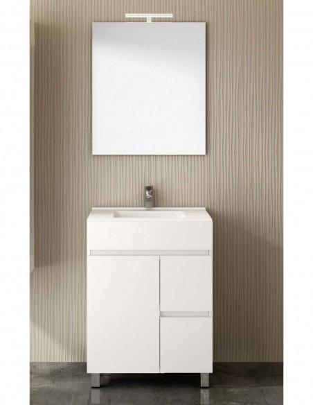Meuble de salle de bain VIDAR avec miroir et lavabo 60 cm Blanc