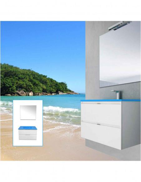 Meuble de salle de bain suspendu LOKI avec miroir et lavabo Bleu Méditerranée 80 cm Blanc