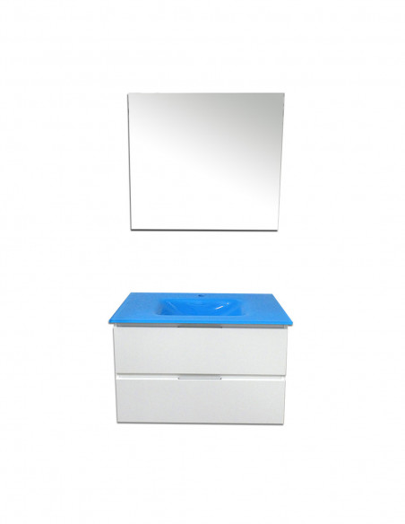 Meuble de salle de bain suspendu LOKI avec miroir et lavabo Bleu Méditerranée 80 cm Blanc 2