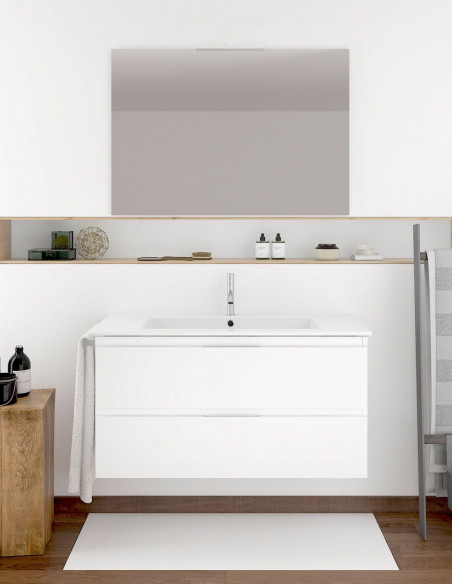 Meuble de salle de bain suspendu LOKI avec miroir et lavabo 80 cm Blanc