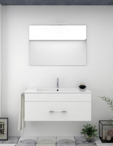 Meuble de salle de bain suspendu BRAGUI avec miroir et lavabo 80 cm Blanc