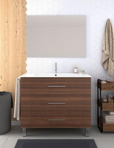 Meuble de salle de bain VALI avec miroir et lavabo 80 cm Frêne Tea