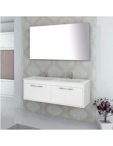 Meuble de salle de bain suspendu BRAGI avec plan vasque double et miroir Blanc