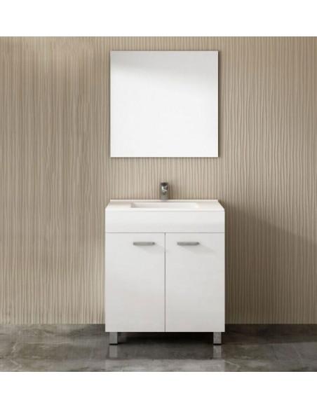 Meuble de salle de bains ULL avec plan vasque et miroir Blanc