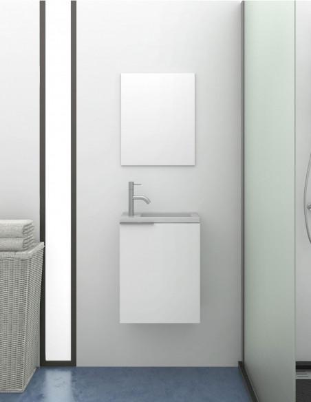 Petite meuble de salle de bains moderne Kompact avec lavabo en résine SOLID SURFACE avec charge minérale blanc