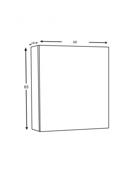 Meuble à miroir murale 60cm – 1 porte schéma
